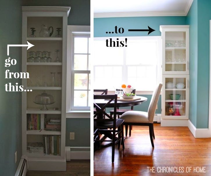 You can add custom glass cabinet doors to any shelf in your house. The Chronicles of Home teaches you how!