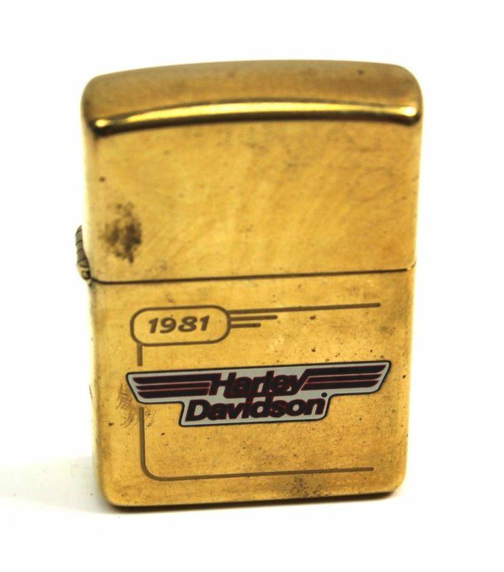 Vintage HARLEY DAVIDSON 1981 Tank Design Brass Zippo Lighter +Box 99201-96Z