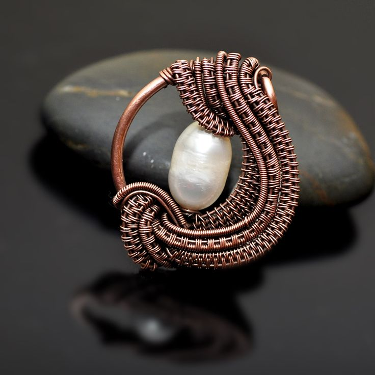 Ocean's Deep, Wire Wrap Freshwater Pearl Copper Pendant - Nicole Hanna Jewelry