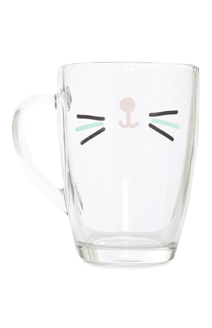 A Beautiful Gabriella Cat Face Glass Mug For Primark Lovers