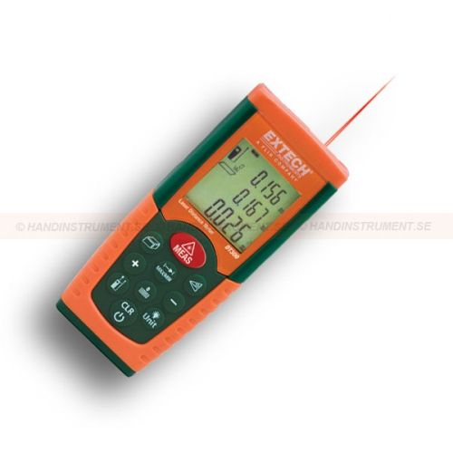 http://handinstrument.se/special-matare-r965/avstandsmatare-laser-53-DT300-r1019  AVståndsmätare, laser  Mäter från 0,05 till 50m  De senaste 20 mätningarna kan hämtas(mätningar eller beräknade resultat)  Beräknar automatiskt area och volym  Indirekt mätning med beräkning med hjälp av Pytagoras sats  Kontinuerlig mät-funktion med Min / Max avstånd som uppdateras var 5 sekunder  Addition / subtraktion, Främre eller bakre kanten kan väljas som referens  Indikator för låg batterinivå...