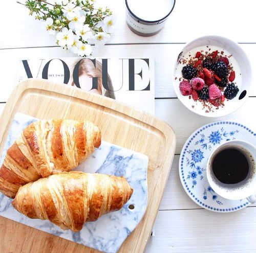 Croissants Over Breakfast + Accompanied By Vogue Mag