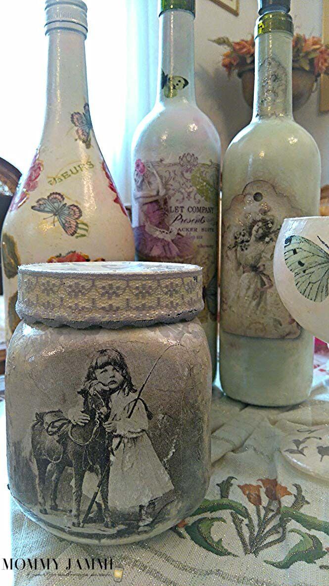Decoupage σε μπουκάλια από την Μαρία Διακαντώνη