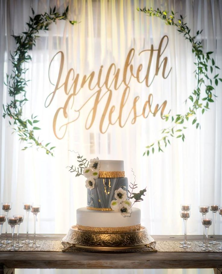 Calligraphy Names, Gorgeous Wedding Background, Eucalyptus Wreath, Elegant Wedding, Destination Wedding, Beautiful Backdrop   Wedding Planner: So Eventful by Jessica (Puerto Rico)  Photographer: Gary Rosado Photography Cake: Lorna's Sweet