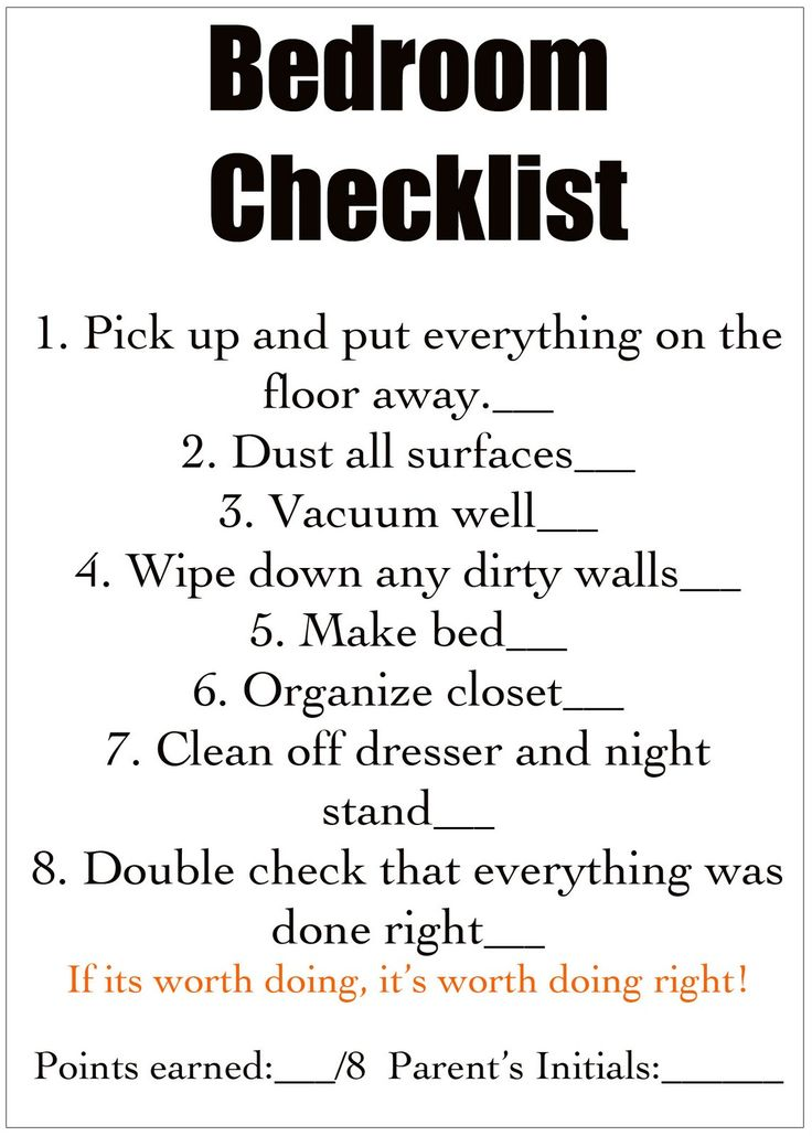 Kids bedroom tidy up checklist  I d make mine a little bit different. 17 Best ideas about Bedroom Cleaning on Pinterest   Cleaning room