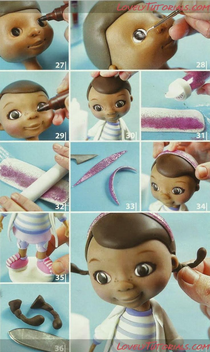 "Doc McStuffins how to part 4  МК лепка ""Доктор Плюшева"" -Doc McStuffins cake topper tutorial - Мастер-классы по украшению тортов Cake Decorating Tutorials (How To's) Tortas Paso a Paso"