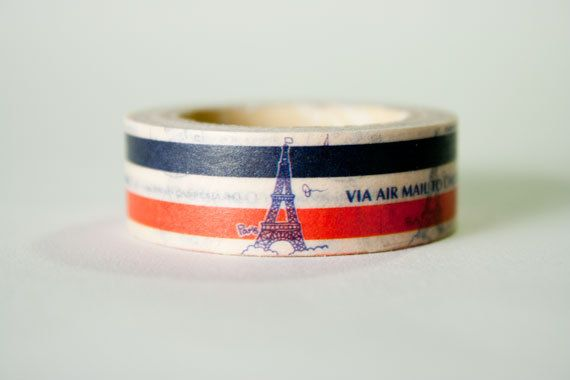 Eifel Tower French Flag Washi Tape by HexagonInc on Etsy, $3.50