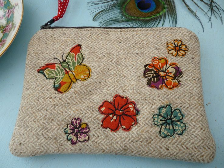 Handmade Coin Purse Makeup bag Oatmeal Linen & Kimono fabric, Floral design gift | eBay