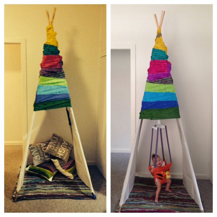 DIY baby jolly jumper/ tee pee cover jolly jumper frame in fabric warping it around in what ever design you wish and secure it with either double sided tape (for not so permanent) or glue in place (for permanent)