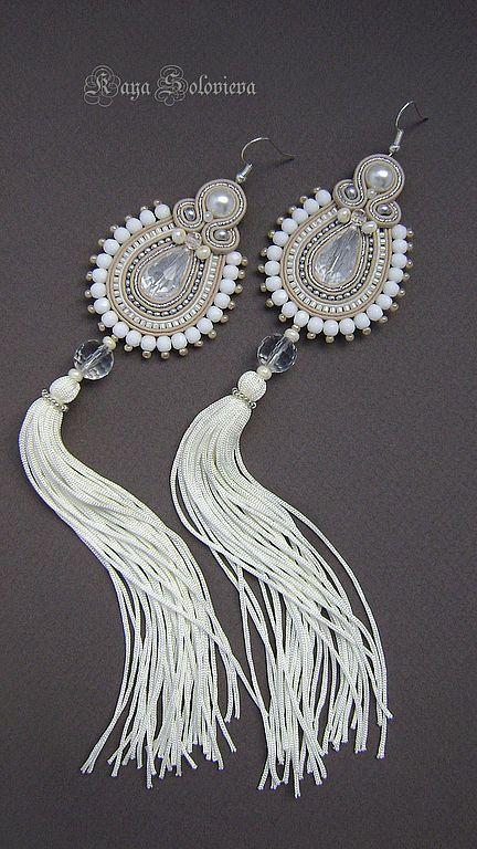 White Soutache, Bead Embroidery, Shibori Silk Design Earrings.
