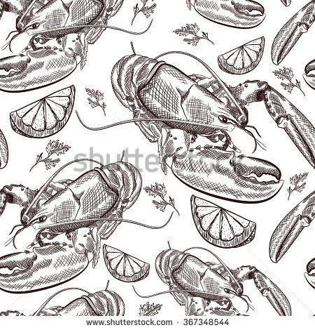 Vector hand drawn seafood seamless pattern. Lobsters, lemon, herb. Vintage illustration. Vector illustration.
