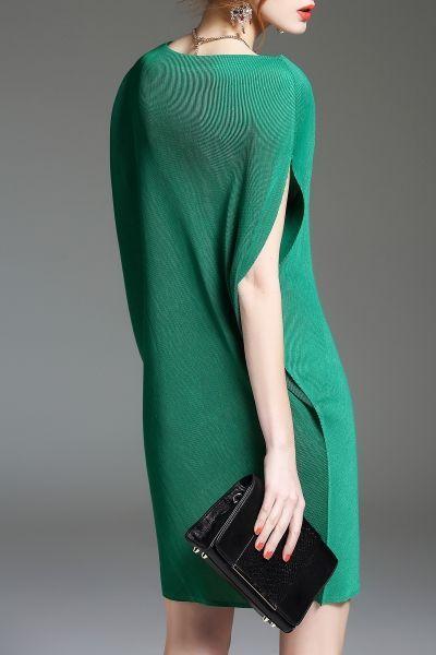 Eveda.cc Green Batwing Sleeve Mini Shift Dress   Mini Dresses at DEZZAL