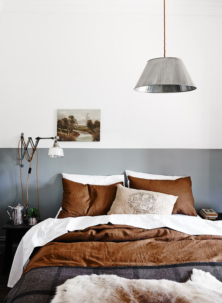 Scandinavian inspired masculine grey and brown bedroom