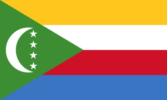 Flag of Comoros / Capital city: Moroni / Continent: Africa