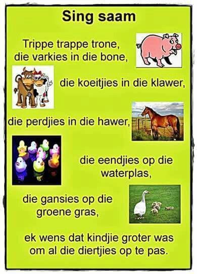 Trippe trappe trone, die varkies in die bone | Afrikaanse rympies en liedjies