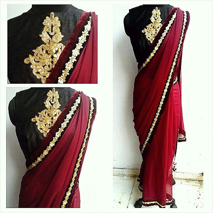 Gota motif blouse on black raw silk and a burgundy chiffon saree. Waidurya cocktail sari
