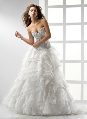 $219.99 Sexy Design Sheer Top White Organza Lace Wedding Gowns and Bridal Dress New