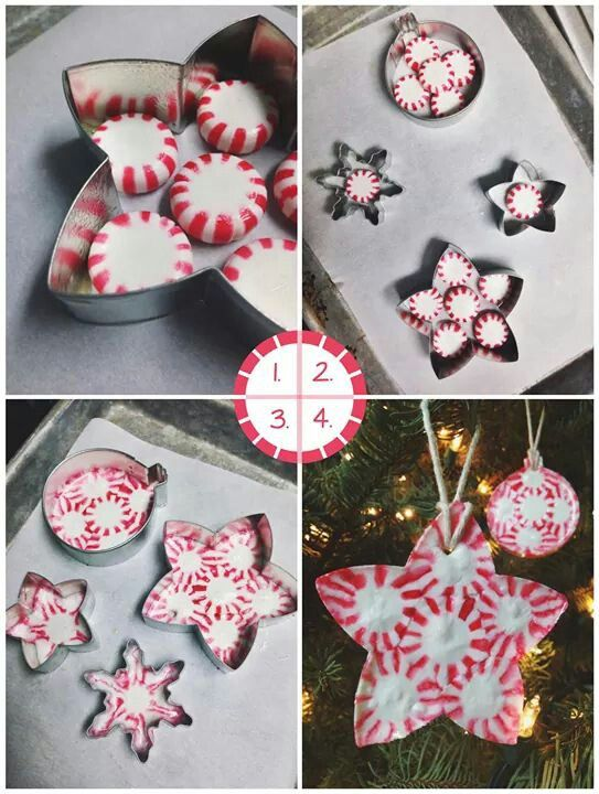 Peppermint Candy Ornaments peppermint candies metal cookie cutters non-stick cooking spray parchment paper toothpick or skewer twine or ribbon Preheat oven to 350F. Line a baking sheet with parchment paper. Spray the inside of each cookie cutter with cooking spray. Lay cookie cutters on baking sheet and fill with a layer of peppermints. Bake for 5-10 minutes. Keep an eye on candy as it melts, remove from oven when candies have melted together. Lightly coat a toothpick with cooking spray and…