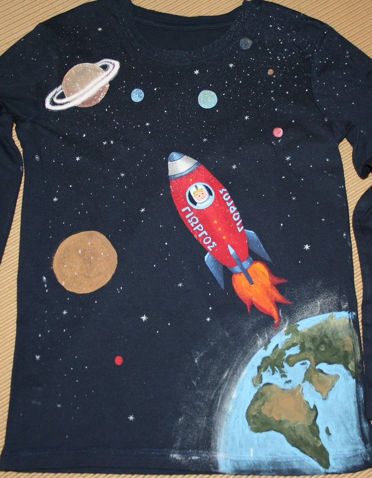 Hand painted 100% cotton jersey long-sleeved Rocket In Space t-shirt. One-of-a-kind unique gift, fully customizable. by NotYourUsualTee on Etsy