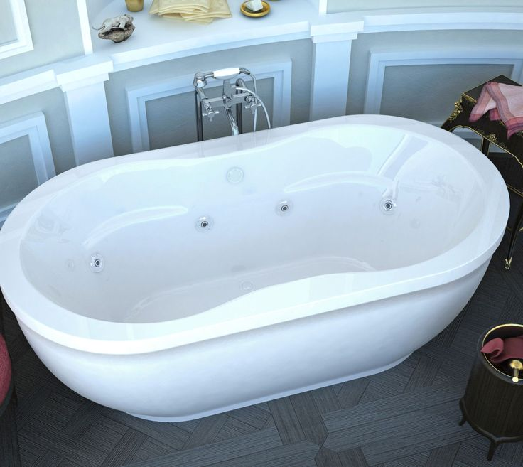 Venzi VZ3471AW Velia 34 x 71 x 21 Oval Freestanding Whirlpool Jetted Bathtub with Center Drain