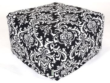 Indoor Black and White French Quarter Large Ottoman modern ottomans and cubes