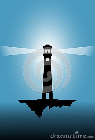 Vector illustration of a lighthouse with blue background