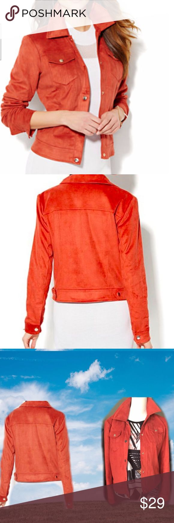 Pumpkin Spice Ultra Suede Jacket NY&Co Pumpkin Spice Ultra Suede Jacket from NY&Co. This bomber style jacket is super soft and lightweight! Perfect statement piece for fall to make any outfit pop! Workweek chic made simple. The color is red-cinnamon, looks like a burnt orange aka pumpkin spice! New York & Company Jackets & Coats Blazers
