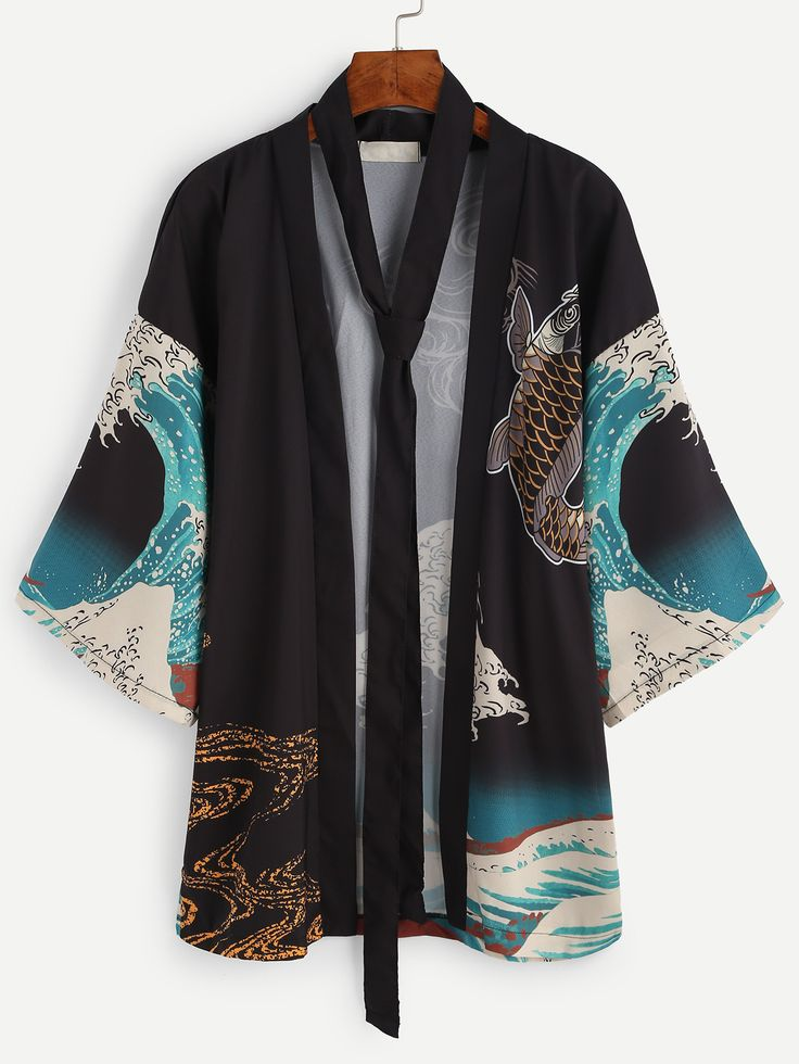 Shop Spindrift And Carp Print Kimono With Belt online. SheIn offers Spindrift And Carp Print Kimono With Belt & more to fit your fashionable needs.