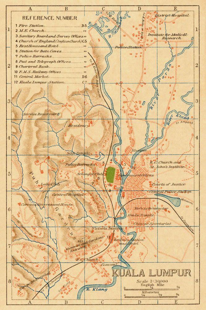 Old map of Kuala Lumpur, (1920)