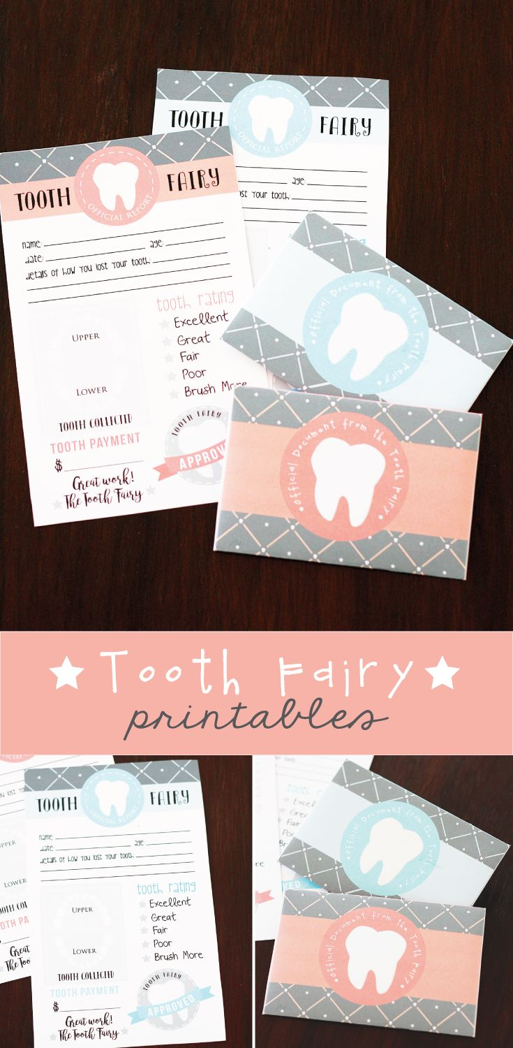 Free Printable Tooth Fairy Letter with matching enevelopes