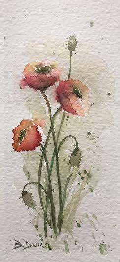 poppies, original watercolor
