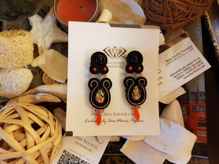 Cercei Soutache Handmade #ANA71603 - Cercei handmade soutache unicat cu tije si fluture Argint 925.  - Bijuterii Handmade - Ana Bijoux Handmade | Ana-Bijoux.com | Ana Bijoux Group