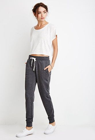 | pinterest- @˗ˏˋbrittinˎˊ˗ |heathered drawstring joggers| forever 21