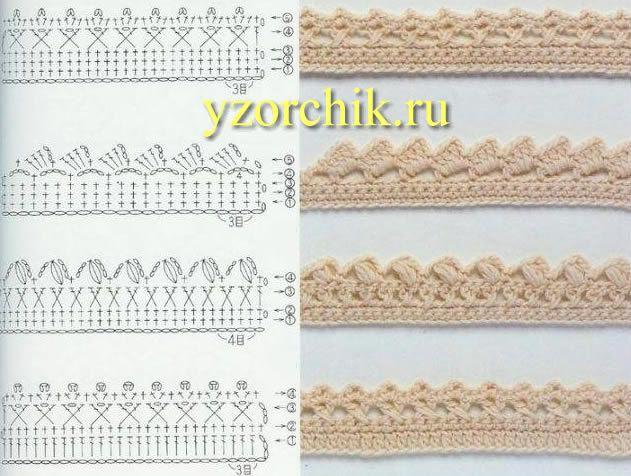 Кайма листочками Филейные узоры крючком Вязание крючком обвязка горловины Пико и зубчики
