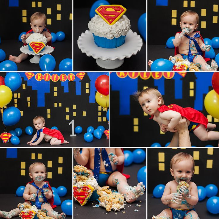 Cake Smash Session #1stbirthday #firstbirthday #superman #cake #cakesmash #blue…