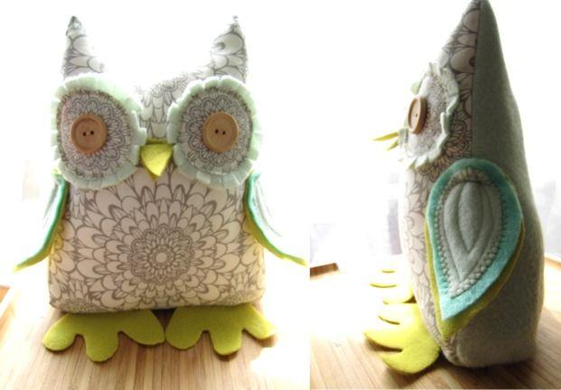 {stuffed owl door stop} what a cute lil hoot! by needleandnestdesign