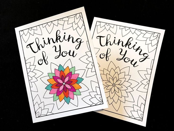 Thinking of You Card with Geometric Flowers - PDF ...