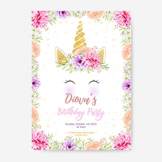 Happy Birthday Party Poster Template With Cute Unicorn Graphic And Flower Frame Unicorn Invitations Flower Frame Floral Wedding Invitation Card