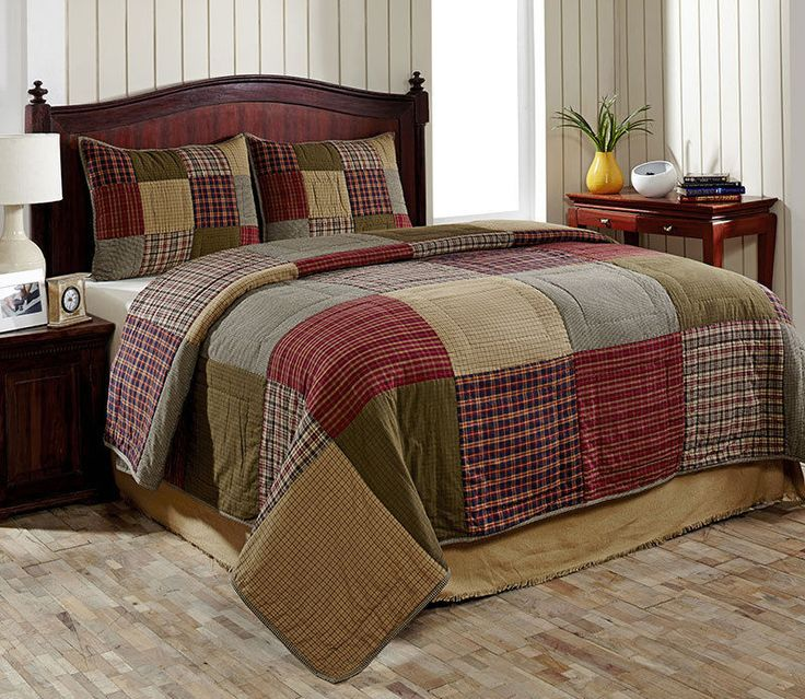 3pc Bryan Country King Size Quilt Set by Olivias Heartland Green Red Tan Blue #OliviasHeartland #Countryquilt #cabinquilt