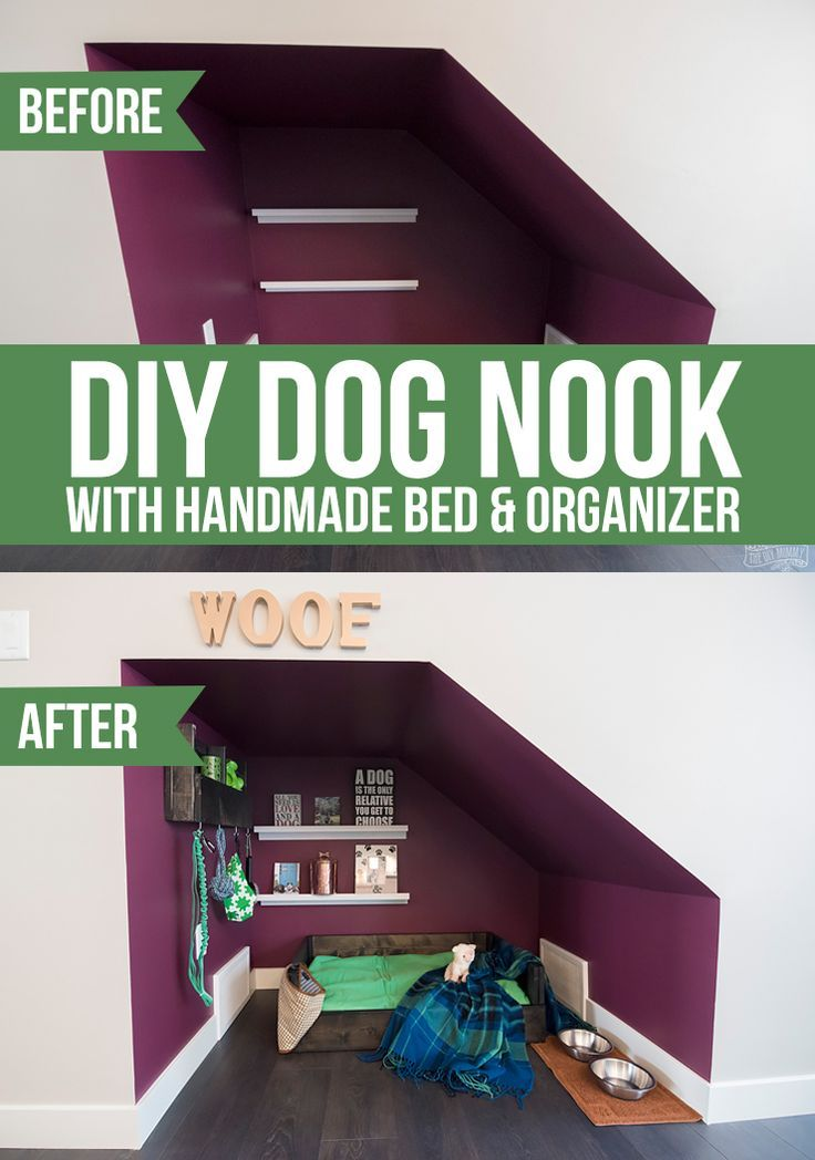 Diy Home  :   Illustration   Description   DIY Under Stairs Dog Nook with Handmade Dog Bed & Organizer | The DIY Mommy    -Read More –   - #DIYHome