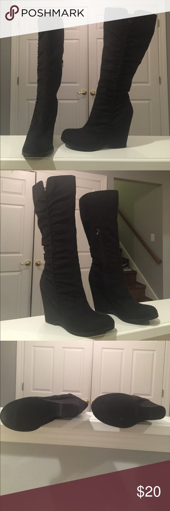 MIA black knee high wedge boot Worn MAYBE 3 times, these boots zip up the side and come right up beneath the knee. There are MINOR scuds on the back of the heel of you look at the attached photos but they are hardly noticeable. :) MIA Shoes Wedges