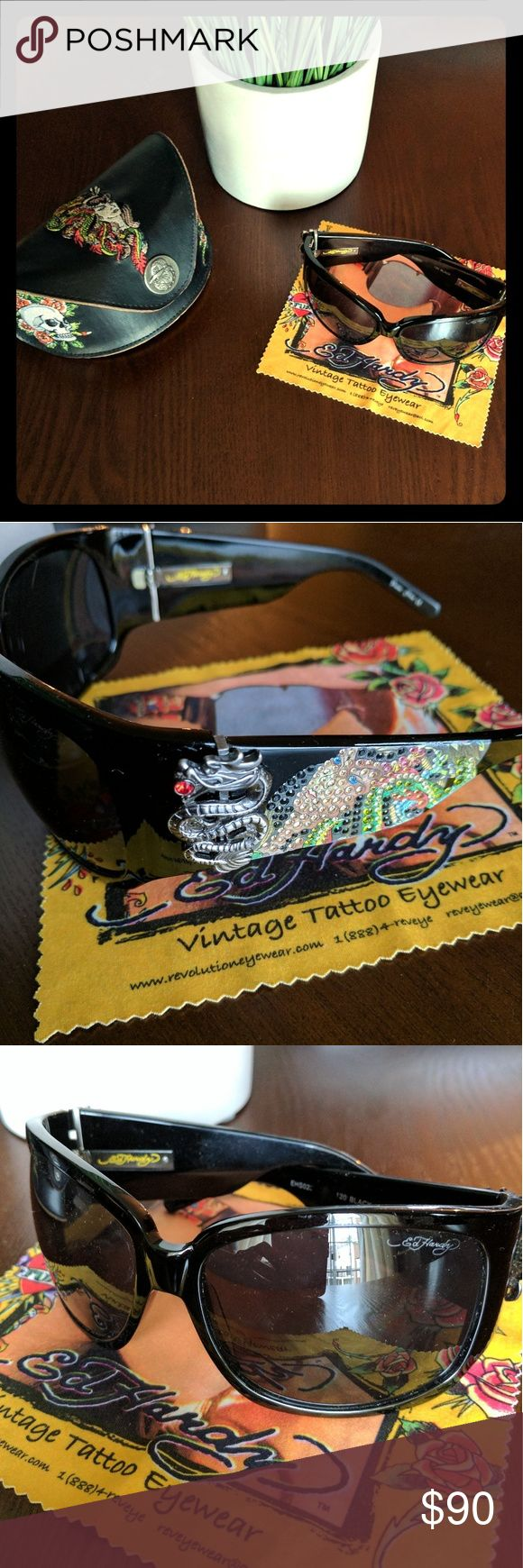 """Ed Hardy Dragon / Studded Sunglasses Authentic Ed Hardy Tattoo Eyewear Sunglasses in """"Dragon"""" (Style EHS-025). Style has rhinestone design on stems with metal dragon and red gem eye. Comes with original embroidered case and cleaning cloth. Great condition. Ed Hardy Accessories Sunglasses"""