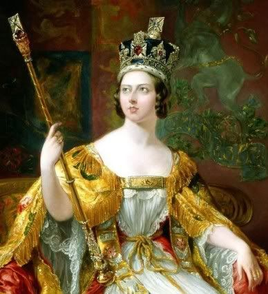 QUEEN VICTORIA (b.1819-d.1901). QUEEN IN HER OWN RIGHT from her accession on 20th June, 1837 until her death on 22nd January, 1901. HOUSE OF HANOVER. PICTURE: Queen Victoria in her coronation robes, painted in 1860. By George Hayter. Government Art Collection, United Kingdom.