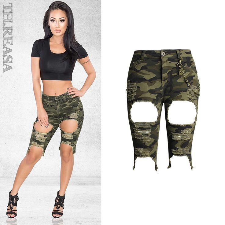 High Waist Hole Ripped Jeans Women Fashion Hollow Out Cotton Skinny Camouflage Pants Fashion Summer Knee Length Broeken Femme #Affiliate