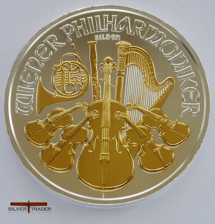 2014 Austrian Philharmonic 1 ounce gold gilded Silver bullion Coin
