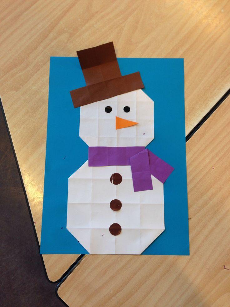 Sneeuwpop van 16 vierkantjes