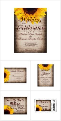 Sunflower Barn Wood Wedding Invitation Set