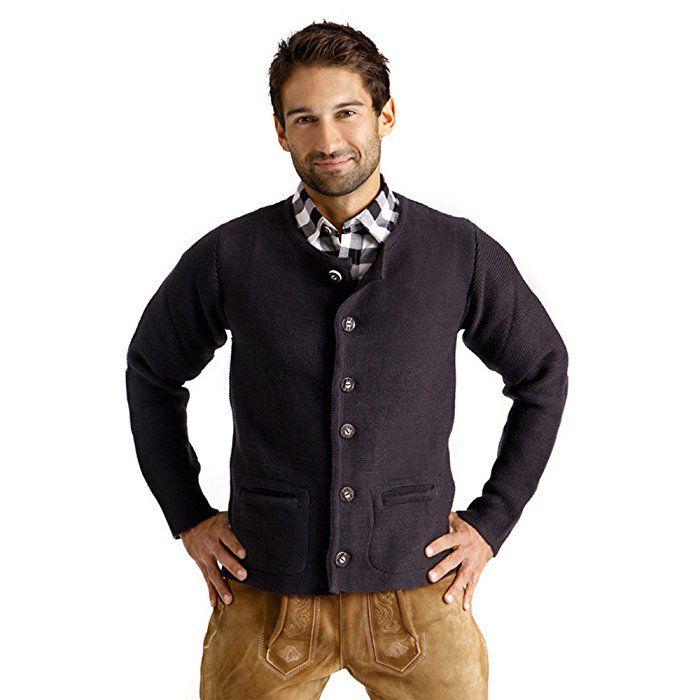 ALMBOCK Herren Strickjacke | Cardigan für Männer in schwarz anthrazit | Trachten Strickjacke | Größen S, M, L, XL, XXL, XXXL