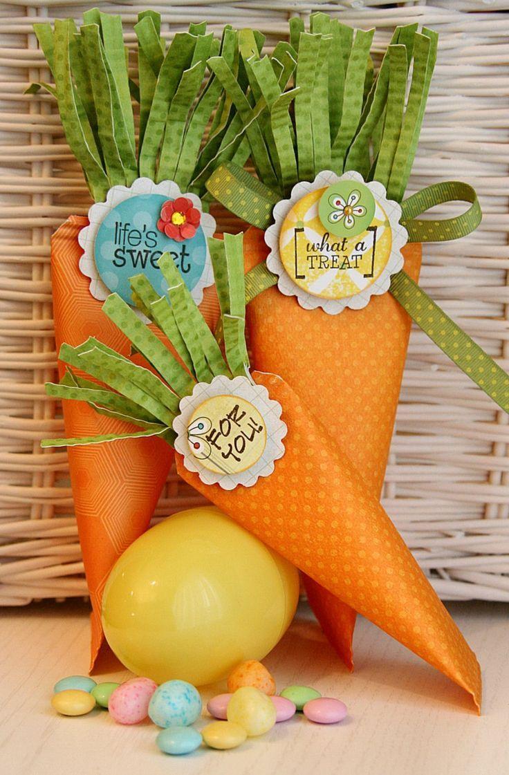 Ostergeschenke basteln Zuckertüte Papier Kinder Mohrrüben Form