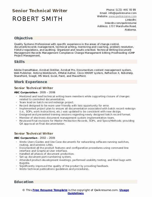 Technical Writer Resume Examples Elegant Senior Technical Writer Resume Samples In 2020 Technical Writer Resume Examples Good Resume Examples